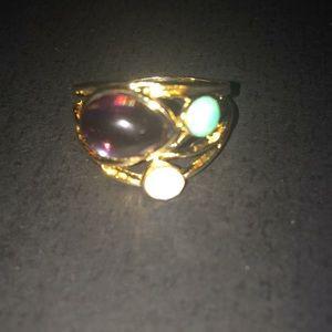 Nwot 18k gp .925 Sz 9 3 stone ring.